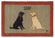 2' x 3' Stay Dog, Hand hooked wool rug, Chandler 4 Corners, Manchester VT