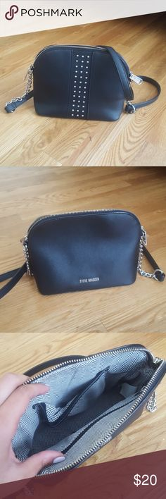 Studded black cross body bag Work a few times, still in awesome condition Steve Madden Bags Crossbody Bags
