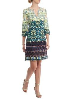 Taylor Clover Multi Embroidered Stretch Crepe Shift Dress