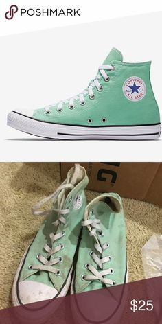 Sea foam green converse Worn, will trade, very pretty color Converse Shoes Sneakers