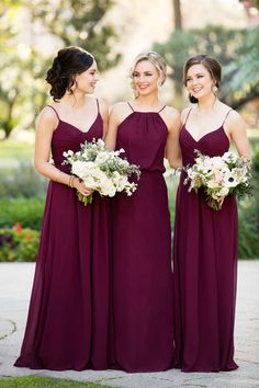 Burgundy Mismatched Boho Bridesmaid Gowns