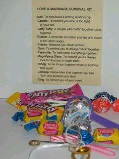 Love Marriage survival kit! What a cute idea!
