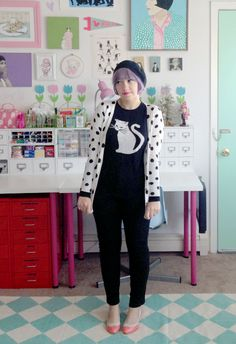 trousers and cats cat sweater - f21 | cardigan - c/o oasap | pants - asos | shoes - bait footwear