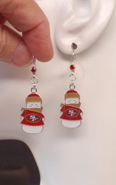 SF 49ers Earrings, 49ers Jewelry, Niners Snowman Charm Red Crystal Leverback Earrings, Pro Football 49ers Bling Accessory Fanwear by scbeachbling on Etsy