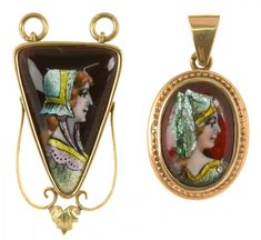 TWO ART NOUVEAU LIMOGES ENAMEL SET PENDANTS. ONE AN OVAL PANEL, SIGNED AT BACK THOUMIEUX LIMOGES, L 30MM, 5.3G, THE OTHER A TRIANGULAR PANEL, SIGNED AT BACK BARDONNAUD LIMOGES, L 33MM, 9.6  Sold @ Mellors & Kirk