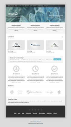 deCente is a free responsive WordPress business portfolio theme. Show off your work with this free responsive business, portfolio theme with complex, yet - posted under by Fribly Editorial Free Html Website Templates, Joomla Templates, Wordpress Template, Wordpress Website Design, Creative Portfolio, Premium Wordpress Themes, Web Design Inspiration, Business, Design Web