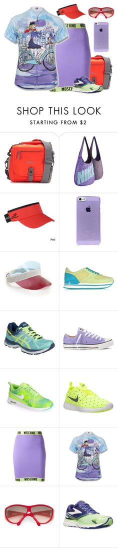 """""""Tricky Trend: Pencil Skirts and Sneakers"""" by yours-styling-best-friend ❤ liked on Polyvore featuring Lowepro, NIKE, Monreal, Hogan, Asics, Converse, Moschino, Versace and Brooks"""