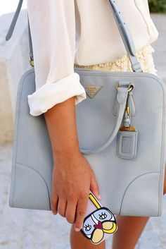 This Light Blue Prada bag looks like what an angel would carry - Prada Bags - Ideasd of Prada Bags - This Light Blue Prada bag looks like what an angel would carry Prada Tote, Prada Handbags, Look Fashion, Fashion Bags, Fashion Handbags, My Bags, Purses And Bags, Prada Outlet, Passion For Fashion
