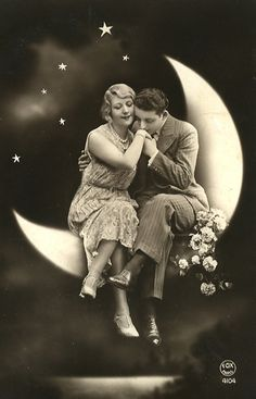 """Often a fixture at fairs, parties, and carnivals, people sat in the crescent of a smiling """"paper moon,"""" as if lifted to the stars. A photographic phenomena primarily of the early half of the 20th century, it captivated the imagination of a world pre-Photoshop and gave many a memorable image of great times."""