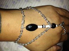 Black white beaded DIY slave bracelet and earrings.