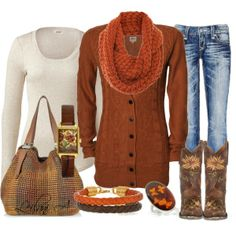 """Orange cardigan outfit with western cowgirl boots!"" by leilani-almazan on Polyvore"