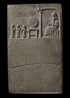 the sun god tablet Nabu-aplu-iddina being led by the priest Nabu-nadin-shum and the goddess Aa into the presence of the Sun-god