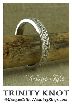 Vintage Style 14K Trinity Knot Wedding Ring — Unique Celtic Wedding Rings Irish Wedding Rings, Wedding Rings Vintage, Wedding Ring Bands, Vintage Rings, Vintage Style, Vintage Fashion, Celtic Trinity Knot, Gold Style, Unique Rings