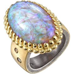 Preowned Lightening Ridge Opal Organic Silver Gold Cocktail Ring ($10,500) ❤ liked on Polyvore featuring jewelry, rings, multiple, band rings, yellow gold opal ring, galaxy ring, opal ring and gold opal ring
