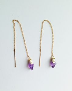 Clutched Amethyst Threader Earrings
