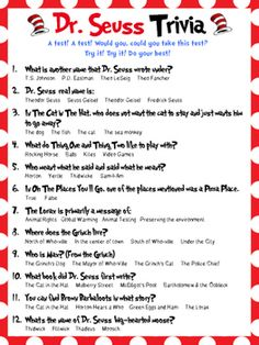 Dr. Seuss Trivia perfect for Dr. Seuss' birthday and Read Across America week. There are 12 questions all related to Dr. Seuss and his books. You will also receive an answer key as well when you purchase this item.