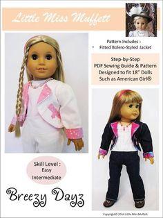 Little Miss Muffett Breezy Dayz Doll Clothes Pattern 18 inch American Girl Dolls   Pixie Faire