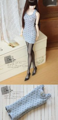 Clear lan | doll clothes <--- Polka dot long tank top. 27cm (m)