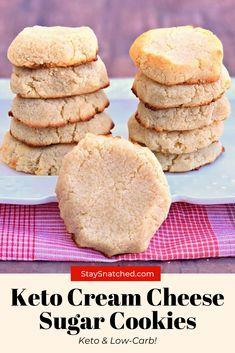 Low Sugar Cookies, Cream Cheese Sugar Cookies, Keto Chocolate Chip Cookies, Keto Cookies, Cheese Cookies, Diabetic Sugar Cookies Recipe, Low Sugar Brownies Recipe, Sugar Free Cookie Recipes, Almond Flour Cookies