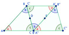 proof that the sum of the angles of a triangle is 180