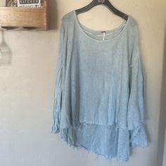 Free people sweater Oversized! Distressed free people sweater, only worn a few times. Very comfy and just like new. Size large and is meant to be very oversized. Free People Sweaters Crew & Scoop Necks