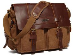 Vintage Leather   Canvas Messenger Bag for Women with Canvas Pockets    Brass Buckles bde54273e4492