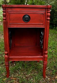 Modernly Shabby Chic Furniture: Red and Black Glazed Nightstand/End Table