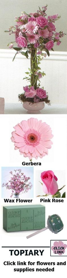 Wedding Flower Centerpiece - Pink Gerbera Topiary Click link for flowers and supplies needed. Step by step assembly instructions.