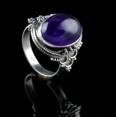 925 STERLING SILVER AMETHYST NATURAL GEMSTONE MENS HANDMADE RING SIZE 9 US R250 #Unbranded