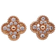 For Sale on - Van Cleef & Arpels 18 Karat Yellow Gold Alhambra Earrings with Round Diamond. Yellow Gold with Round Diamonds Van Cleef & Arpels Alhambra Earrings. 18k Gold Bracelet, Diamond Earrings, Stud Earrings, Aquamarines, Van Cleef Arpels, Timeless Elegance, Yellow Roses, Round Diamonds, Rose Gold