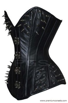Inner Shell: Strong 100% Cotton Jean Use As A Lining In This Corset. Corset Includes: 100% Polyester Lace String, Beautiful Velvet Storage Bag & Plastic Garter Set. Metal Spikes On Top And Bottom To Show Gothic And Steampunk Fashion. | eBay!