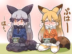 2girls animal_ears black_gloves black_skirt blonde_hair blue_jacket bow bowtie chopsticks closed_eyes donbee_(food) ezo_red_fox_(kemono_friends) food fox_ears fox_tail gloves gradient_hair gradient_legwear jacket kemono_friends kemonomimi_mode long_hair multicolored_hair multiple_girls necktie orange_eyes orange_jacket pantyhose pleated_skirt product_placement seiza shoes silver_fox_(kemono_friends) silver_hair sitting skirt tail tanaka_kusao white_skirt