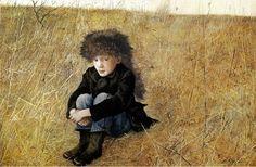 Andrew Wyeth 'Faraway' (Jamie Wyeth) 1952 drybrush tempera ...