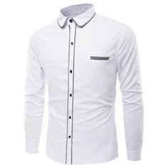 Turn-Down Collar Long Sleeve Stripe Edging Shirt