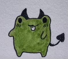 Indie Drawings, Easy Doodles Drawings, Small Drawings, Cute Little Drawings, Cool Art Drawings, Art Drawings Sketches, Arte Grunge, Frog Drawing, Keramik Design