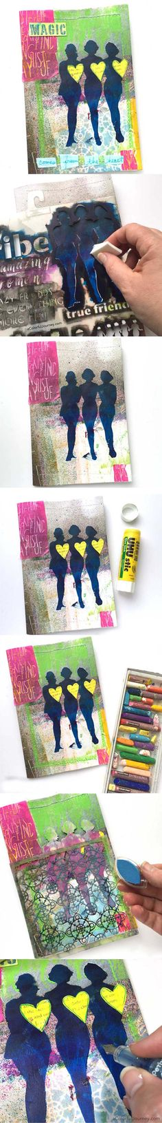 Art journaling with stencils and masks by Carolyn Dube with StencilGirl Stencils