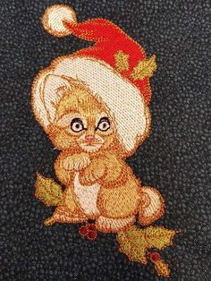 Too small to be Santa embroidery design Too small to be Santa machine embroidery design Author: Ann-kristin Kristoffersen #small #christmas #hat #cat #embroidery #embroideres #kitten #holiday #beige #embroidereddesign