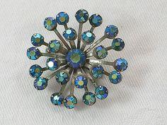 Vintage Blue RHINESTONE SNOWFLAKE PIN by LavenderGardenCottag
