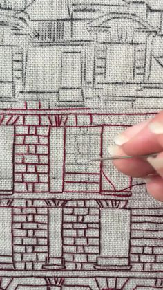 Broderie architecturale, briques - Embroidery Tutorial by Charles and Elin - Couture Hand Embroidery Videos, Embroidery Stitches Tutorial, Learn Embroidery, Hand Embroidery Stitches, Crewel Embroidery, Embroidery Kits, Knitting Stitches, Couture Embroidery, Ribbon Embroidery