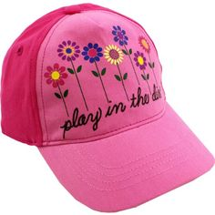 """John Deere """"Play in the Dirt"""" Pink Toddler Baseball Cap Hat (2T/3T). Pink/Light Pink color. Pink/Light Pink. John Deere """"Play in the Dirt"""" Pink Toddler Baseball Cap Hat features screen printed flowers and the words """"Play in the Dirt"""" embroidered on the bottom. Variation Attributes: Size- 2T / 3T. Imported. The perfect accessory for any John Deere girl! Officially licensed John Deere apparel. Elastic back for perfect fit. Cap constructed in 100% cotton. Look great on the farm or..."""