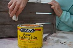 Great tutorial for getting a pretty whitewash/aged finish using pickling stain and and minwax wax.  Pickling stain?  Need to try that!