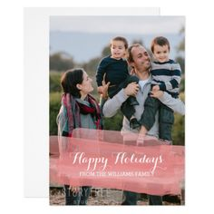 Red Watercolor Brushstroke Holiday Photo Card