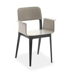 Sedia poltroncina di design rivestita cuoio - Nenè P-CU   ArredaSì