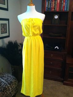 2afd2a1999946 1970s Neon yellow strapless terry cloth swimsuit cover up or beach summer  sun dress By Sears