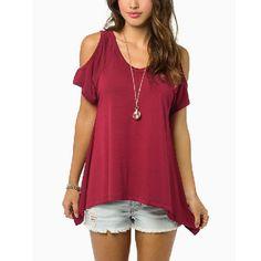Women Casual Loose Tops Off Shoulder Shirts Off Shoulder Round Neck Short Sleeve Blouses