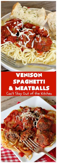 Venison Spaghetti and Meatballs | Can't Stay Out of the Kitchen | this #SpaghettiAndMeatballs version can't be beat! It takes the best of #spaghetti & #meatballs but uses #venison instead. No one will ever believe you're using #DeerMeat instead of #beef! This #LowCalorie entree will knock your socks off! #Italian #pasta #VenisonSpaghettiAndMeatballs