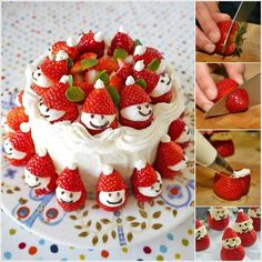 Try These Easy Strawberry Santas To Decorate Your Christmas Cake!!To make these easy-peasy strawberry santas you will require strawberries, whipped double cream and chocolate sauce. First wash strawberries and then remove their top. After that cut the lower part of the strawberries as shown in the photo. These will form the caps.Then remove all the caps and set the strawberries in a dish. After that whip some double cream and pipe it on the top of strawberries to form faces. Put the caps and…