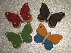 very easy Fondant Cookies, Decorated Cookies, Cookie Decorating, Gingerbread Cookies, Butterfly, Club, Birthday, Easy, Desserts