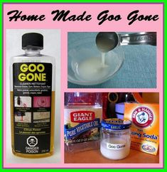 Homemade goo gone - I didn't think it would work, but IT DID! (I took a huge sticky label off a mason jar) I didn't pre-mix it like the pin says. Just sprayed some good ol' vegetable oil on the glue and sprinkled baking soda on - scrubbed a bit with my finger, rinsed, and voila! PS: Tried it on a plastic bottle, and it definitely required more effort! with glass, it works like a charm!