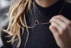 """""""Even you have a heart of gold. That's why you deserve a charming heart themed necklase in gold that looks special on you. Will it become love at the first sight? """" Rose Gold Color, Heart Of Gold, Wish, That Look, Jewellery, Silver, Gifts, Jewels, Presents"""